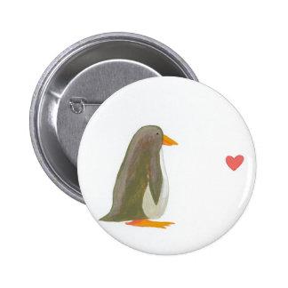 Penguin contemplating love fun little painting art pinback button