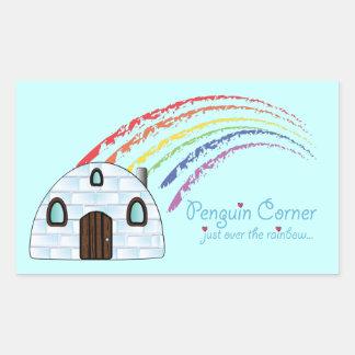 Penguin Corner Just over the Rainbow Rectangular Sticker