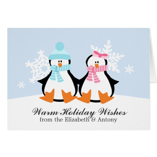 Penguin couple christmas cards zazzle for Penguin christmas cards homemade