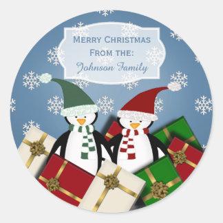 Penguin Couple Christmas Stickers