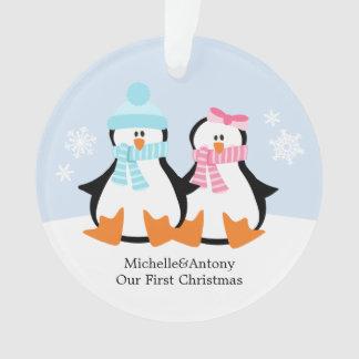Penguin Couple Custom Christmas Ornament