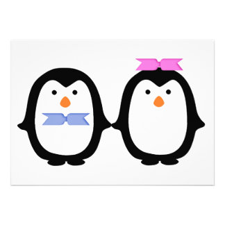 Penguin Couple Custom Invitation