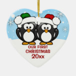 Penguin Couple First Christmas Ornament Ceramic Heart Ornament