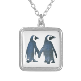 Penguin Couple Holding Hands Custom Necklace