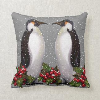 Penguin Couple in Snow: Christmas Art: Holly Throw Pillow