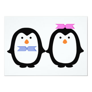 "Penguin Couple 5"" X 7"" Invitation Card"