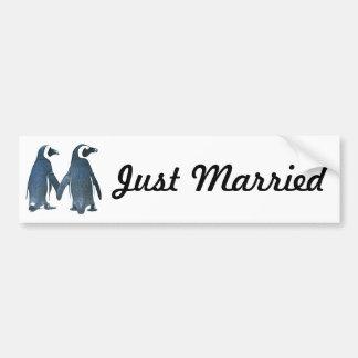 Penguin Couple Just Married Bumper Sticker