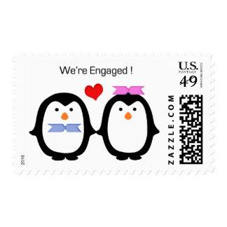Penguin Couple Male Female Engaged Postage