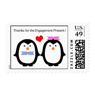 Penguin Couple Male Female Thanks Engagement Postage Stamp