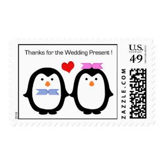 Penguin Couple Male Female Thanks Wedding Postage