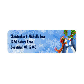 Penguin Couple, Mistletoe, Snowflakes Address Label
