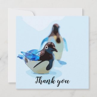 Penguin couple on blue background watercolor