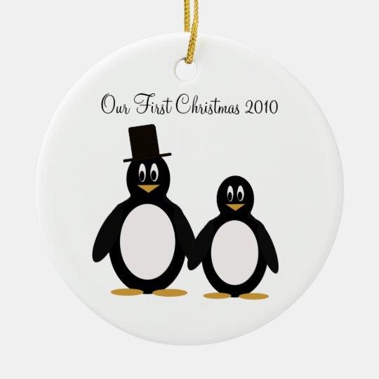Penguin Couple Ornament. Ceramic Ornament