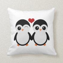 Penguin couple pillow