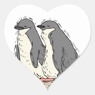 Penguin Couple Sandy Beach Wedding Hearts Heart Sticker
