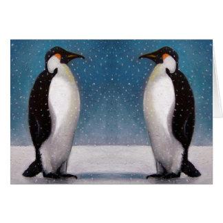 PENGUIN COUPLE: SNOW: ORIGINAL ART CARD