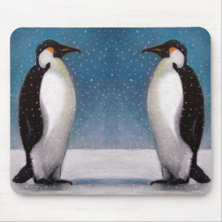 PENGUIN COUPLE: SNOW: ORIGINAL ART MOUSE PAD