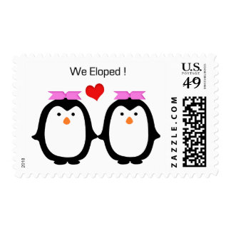 Penguin Couple Two Females Eloped Postage Stamps