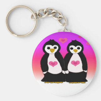 Penguin Couple with Hearts Keychain