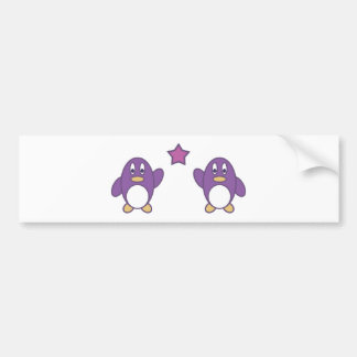 Penguin Couple with Star Car Bumper Sticker