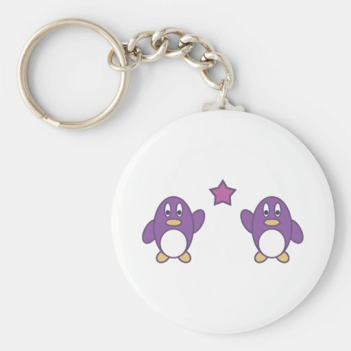 Penguin Couple with Star Basic Round Button Keychain