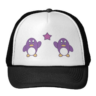 Penguin Couple with Star Trucker Hat