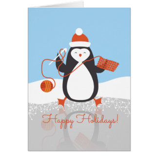 Penguin crochet hook yarn Christmas handmade by Card