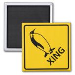 Penguin Crossing Highway Sign 2 Inch Square Magnet