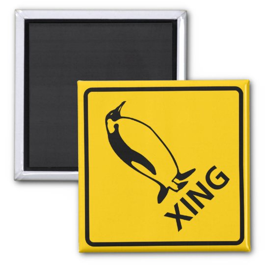 Penguin Crossing Highway Sign Magnet