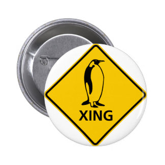 Penguin Crossing Highway Sign Pinback Button