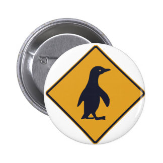 Penguin Crossing - New Zealand Road Signs Pinback Button
