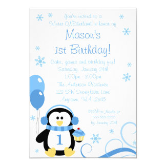 Penguin Cupcake Swirls Winter Onederland Blue 5x7 Paper Invitation Card