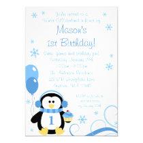 Penguin Cupcake Swirls Winter Onederland Blue Invitation