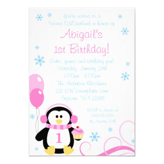 Penguin Cupcake Swirls Winter Onederland Pink Blue 5x7 Paper Invitation Card