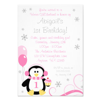 Penguin Cupcake Swirls Winter Onederland Pink Gray 5x7 Paper Invitation Card