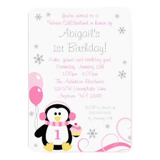 Penguin Cupcake Swirls Winter Onederland Pink Gray Card