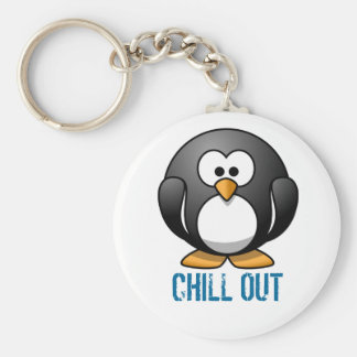 Penguin (customize the text) basic round button keychain