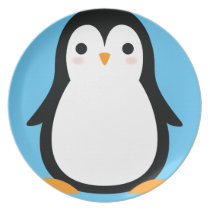 Penguin Cute Winter 1st Birthday Commemorative Dinner Plate