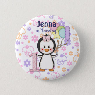 Penguin Cutie- Girl First Birthday Button