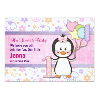 Penguin Cutie- Girl First Birthday Card