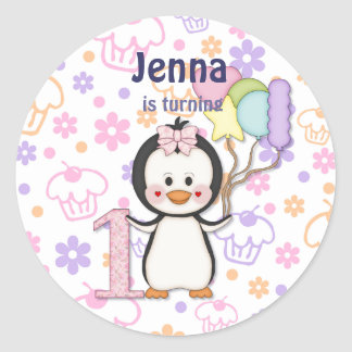 Penguin Cutie- Girl First Birthday Classic Round Sticker
