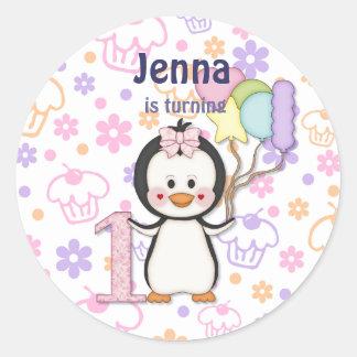 Penguin Cutie- Girl First Birthday Sticker