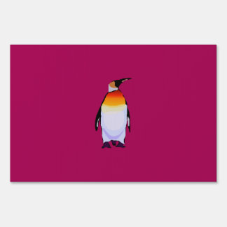 Penguin Deep Red Sign