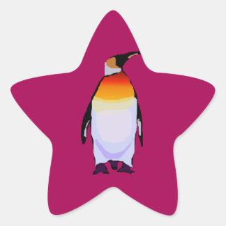 Penguin Deep Red Star Sticker
