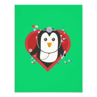 Penguin doctor with heart Zal28 Card
