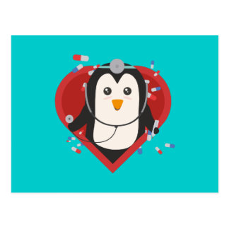 Penguin doctor with heart Zal28 Postcard