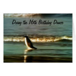 """PENGUIN DOES """"16th BIRTHDAY DANCE FOR YOU Greeting Card"""