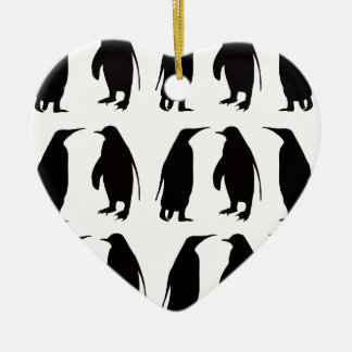 Penguin Double-Sided Heart Ceramic Christmas Ornament