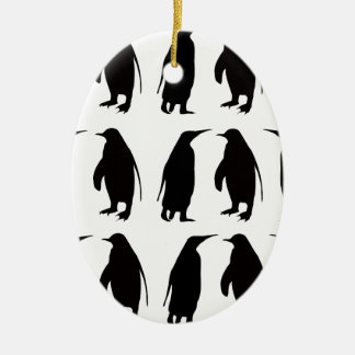 Penguin Double-Sided Oval Ceramic Christmas Ornament