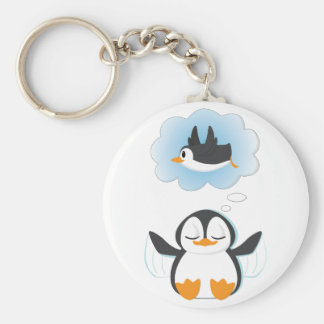 Penguin Dreams Basic Round Button Keychain